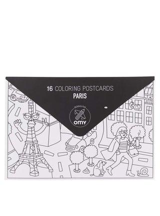 Súprava šestnástich vymaľovávacích pohľadníc Paris OMY