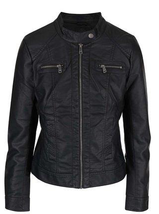 Jacheta biker neagra din piele sintetica pentru barbati - ONLY Bandit