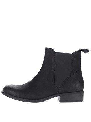 Čierne dámske kožené chelsea topánky na miernom podpätku Vagabond Cary