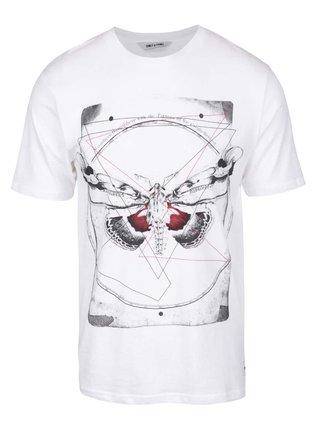 Biele tričko s potlačou ONLY & SONS Skulls