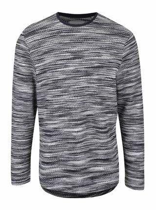 Sivo-modrý melírovaný sveter s okrúhlym výstrihom ONLY & SONS Fly
