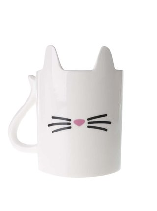 Bílý porcelánový hrnek s motivem kočky Gift Republic