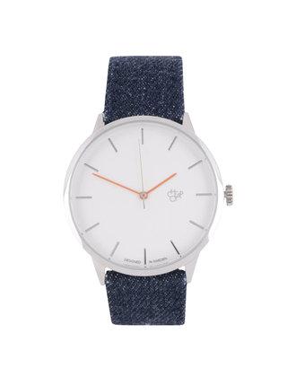 Dámské hodinky ve stříbrné barvě s modrým textilním páskem Cheapo Khorshid Denim