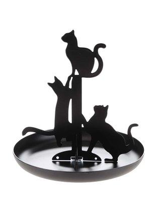 Černý stojan na šperky s kočkami Kikkerland Cat