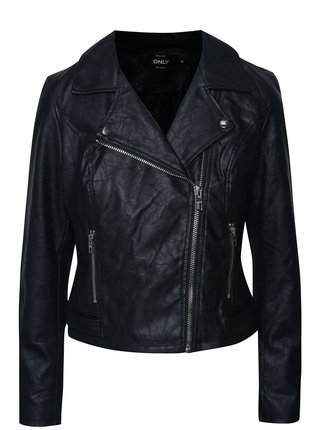 Jacheta neagra ONLY File din piele sintetica