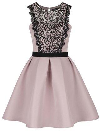 Staroružové šaty s čiernym čipkovým detailom Little Mistress