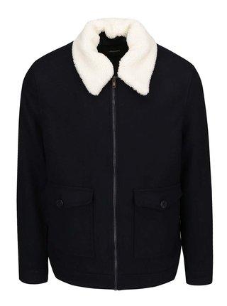 Tmavě modrá vlněná bunda s límcem Burton Menswear London