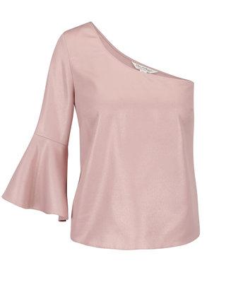 Bluza asimetrica roz cu maneca clopot si aspect stralucitor Miss Selfridge