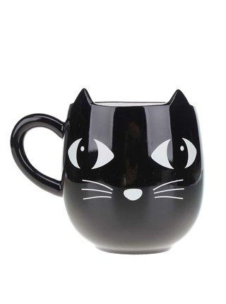Čierny keramický hrnček s mačkou Sass & Belle