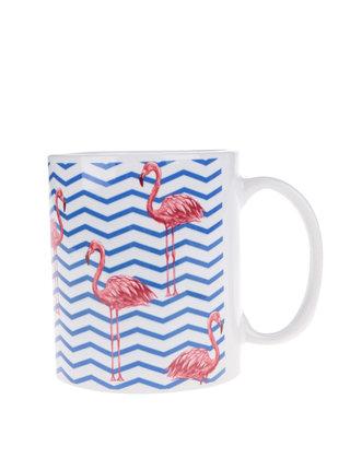 Cana albastru & alb Butter Kings cu model cu Flamingo