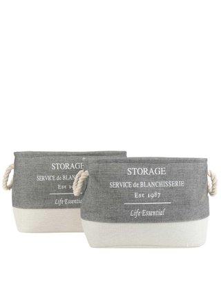 Súprava dvoch textilných úložných košov v krémovo-sivej farbe Dakls