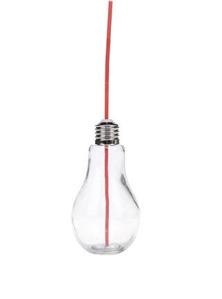 Malý pohár s červenou slamkou v tvare žiarovky Dakls
