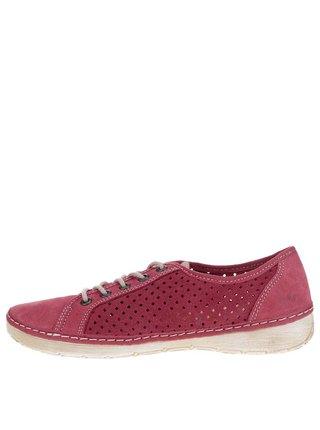 Pantofi sport roz din piele cu perforatii Weinbrenner
