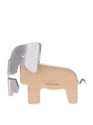 Hnedý otvárač s vývrtkou v tvare slona Kikkerland