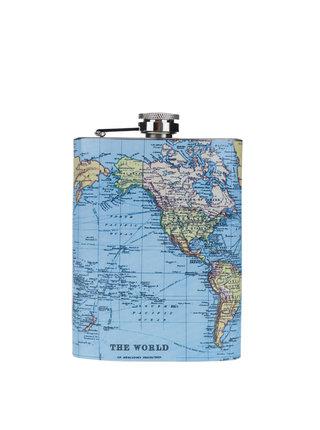 Plosca de buzunar cu print harta lumii - Gift Republic