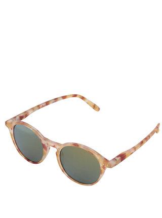 Hnědo-žluté vzorované sluneční brýle s černými skly IZIPIZI  #D