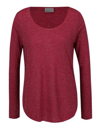 Vínové melírované tričko s dlhým rukávom VERO MODA Lua