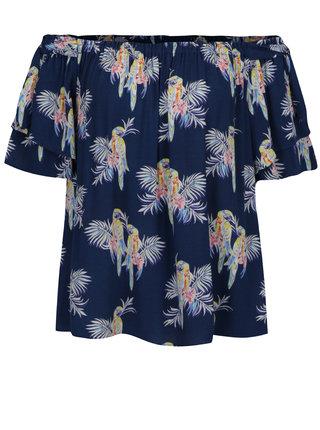 Tmavomodrá voľná blúzka s motívom papagájov a odhalenými ramenami Juicy Couture