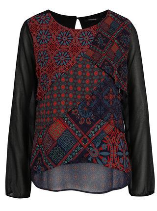 Bluza neagra cu print etno multicolor Desigual Capas Birmania