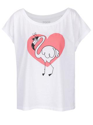 Biele dámske oversize tričko ZOOT Originál Flamingo
