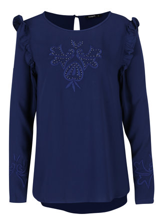 Bluza bleumarin cu volane scurte Desigual Mimosa