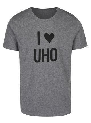 Šedé pánské žíhané tričko ZOOT Originál I love UHO