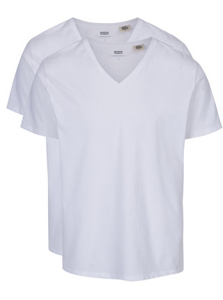 Sada dvou bílých basic triček s véčkovým výstřihem Levi's®