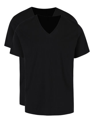 Set 2 tricouri barbatesti basic negre cu decolteu V Levi's®