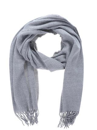 Esarfa tricotata gri deschis cu franjuri Pieces Kial