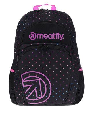Ružovo-čierny dámsky bodkovaný batoh Meatfly Vault 26 l
