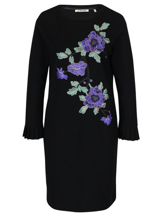 Rochie neagra cu broderie florala  Rich & Royal