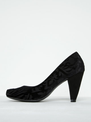 Pantofi negri cu toc conic si imprimeu floral - Ruby Shoo Leah