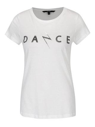 Krémové tričko s krátkym rukávom a potlačou VERO MODA Dance Studio