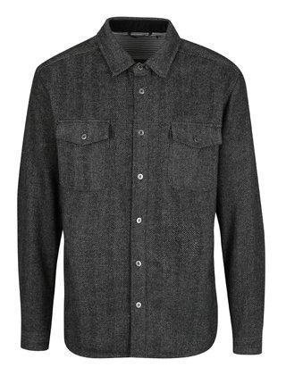 Tmavě šedá vzorovaná košile s příměsí vlny SUIT Josh