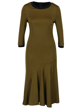 Kaki midi šaty s 3/4 rukávom NISSA