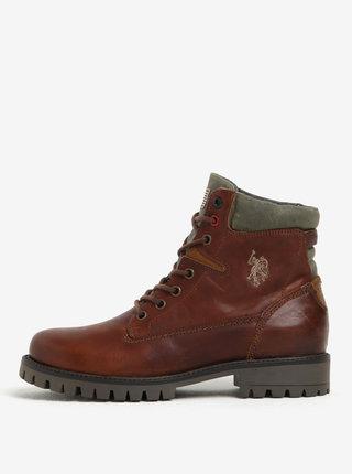 Hnedé členkové kožené topánky U.S. Polo Assn.