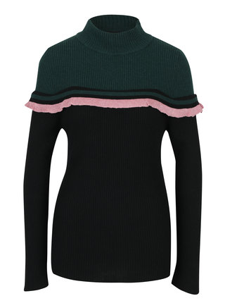 Pulover verde cu negru cu guler inalt si volan Fornarina Rosy