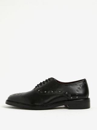 Pantofi brogue negri din piele naturala cu aplicatii metalice - London Brogues Brut Oxford