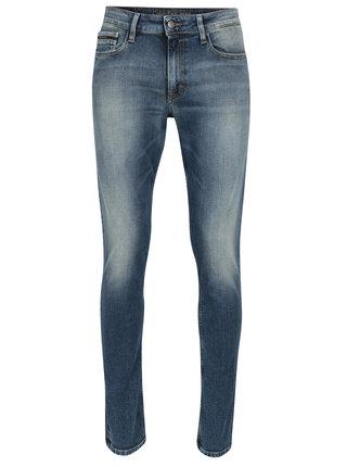 Modré pánske slim fit rifle s vyšúchaným efektom Calvin Klein Jeans