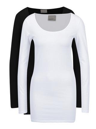 Sada dvou dlouhých basic triček v černé a bílé barvě VERO MODA