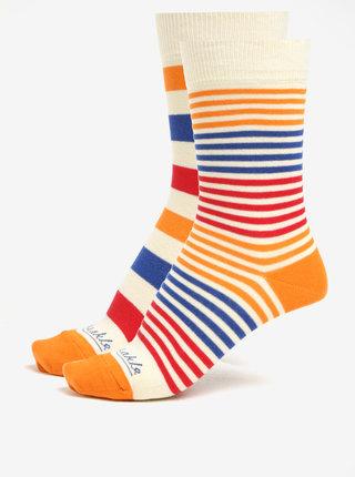 Sada dvou pruhovaných unisex ponožek v krémové barvě Fusakle Páskavec extrovert