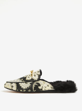 Pantofi tip mules negru & auriu cu blana artificiala pentru femei - Ted Baker Kerriy