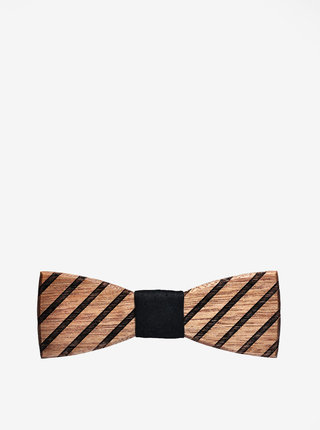 Hnědý pánský dřevěný gravírovaný motýlek BeWooden Buteo