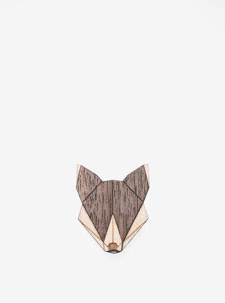 Dřevěná brož ve tvaru vlka BeWooden Wolf Brooch