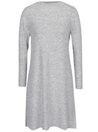 Šedo-krémové žíhané svetrové šaty ONLY Leo