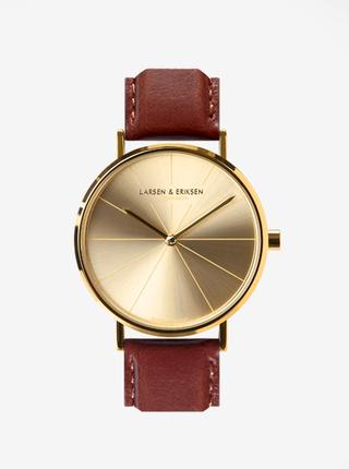 Unisex hodinky ve zlaté barvě s hnědým koženým páskem LARSEN & ERIKSEN  37 mm