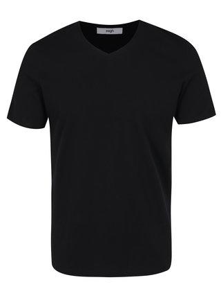 Čierne pánske tričko s véčkovým výstrihom Zagh