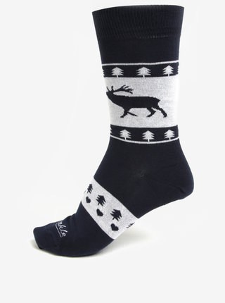 Tmavomodré unisex ponožky s jeleňom Fusakle Zimný paroháč