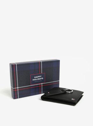 Súprava pánskej koženej peňaženky a kľúčenky v čiernej farbe v darčekovej škatuľke Tommy Hilfiger Eton