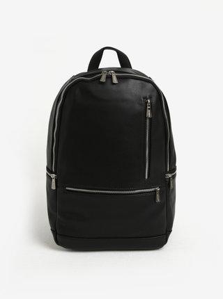 Čierny batoh so zipsami v striebornej farbe Bobby Black